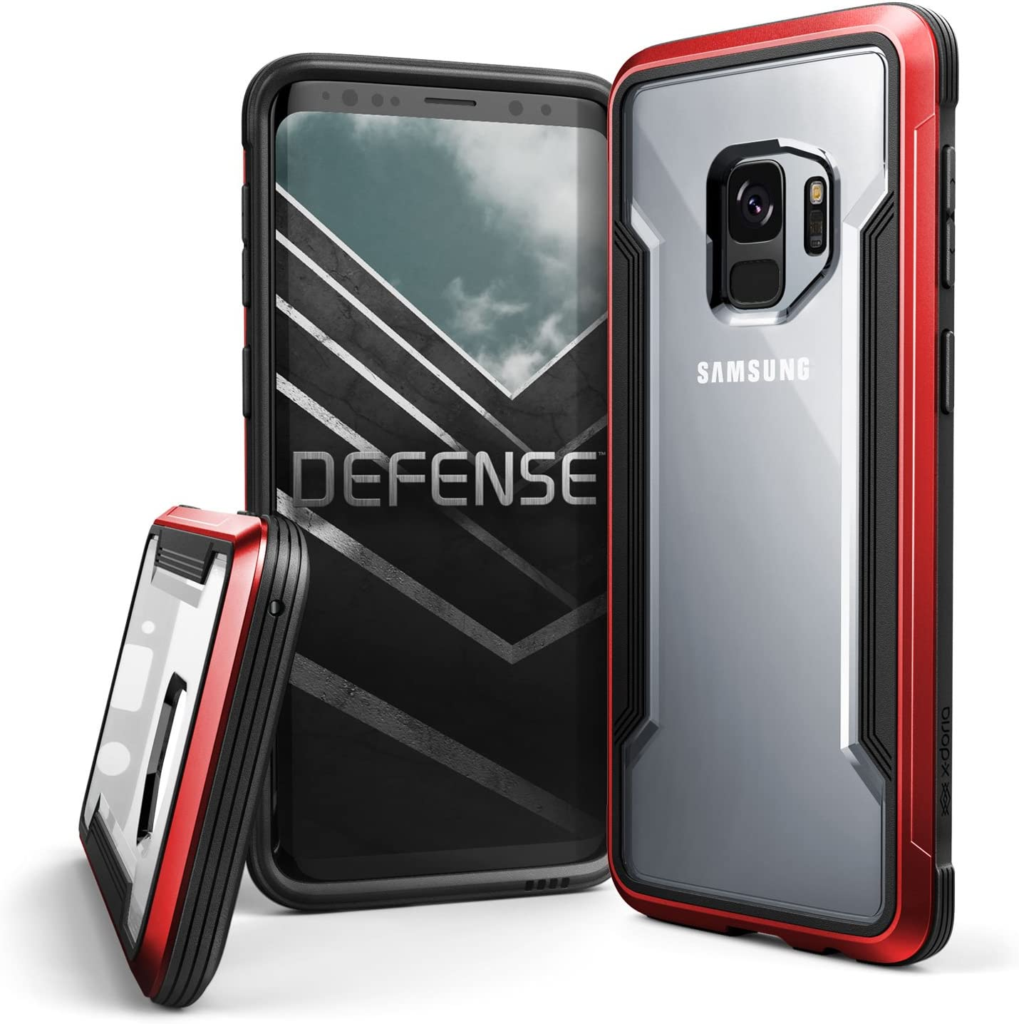 X-Doria Galaxy S9 Case, Defense Shield Protective Aluminum Frame Case Thin Design Shockproof Transparent Case for Samsung Galaxy S9, Red