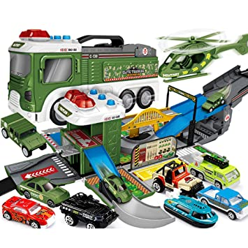 Siyushop Estacionamiento Militar, Garaje para niños, Coche de Juguete Morphing, 1 avión y 8 carros de aleación: Amazon.es: Hogar