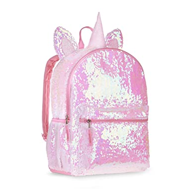 Unicorn 2 Way Sequins Critter Backpack 16 (Pink, One_Size)