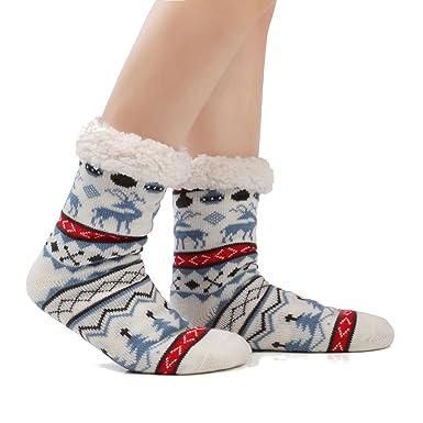 JARSEEN Mujer Hombre Navidad Calcetines Invierno Calentar Pantuflas de Estar Por Casa Super Suaves Cómodos Calcetines