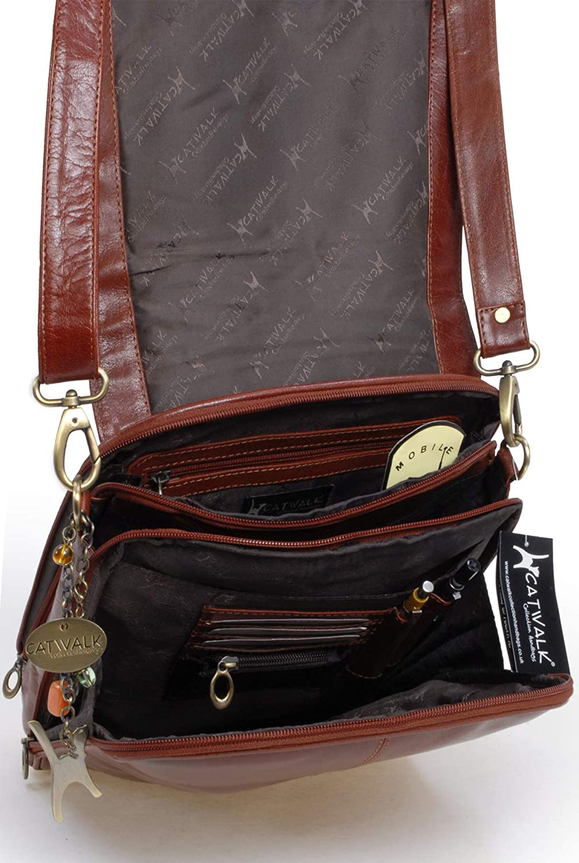 Catwalk Collection Handbags - Leder - Große Umhängetasche/Arbeitstasche/Schultertasche - CITY Hellbraun