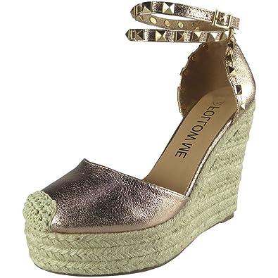 9c71fbbc8a26 Loud Look Womens Studded Ankle Strap Espadrilles Platform Shoes Wedge  Sandals Size 6