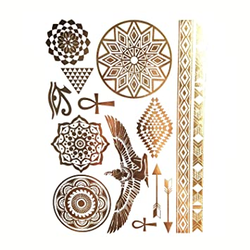 45006a796 Sexy Sun Moon Star Temporary Tattoo Women Party Body Arm Art Fake Flash  Tattoos Gold Metallic