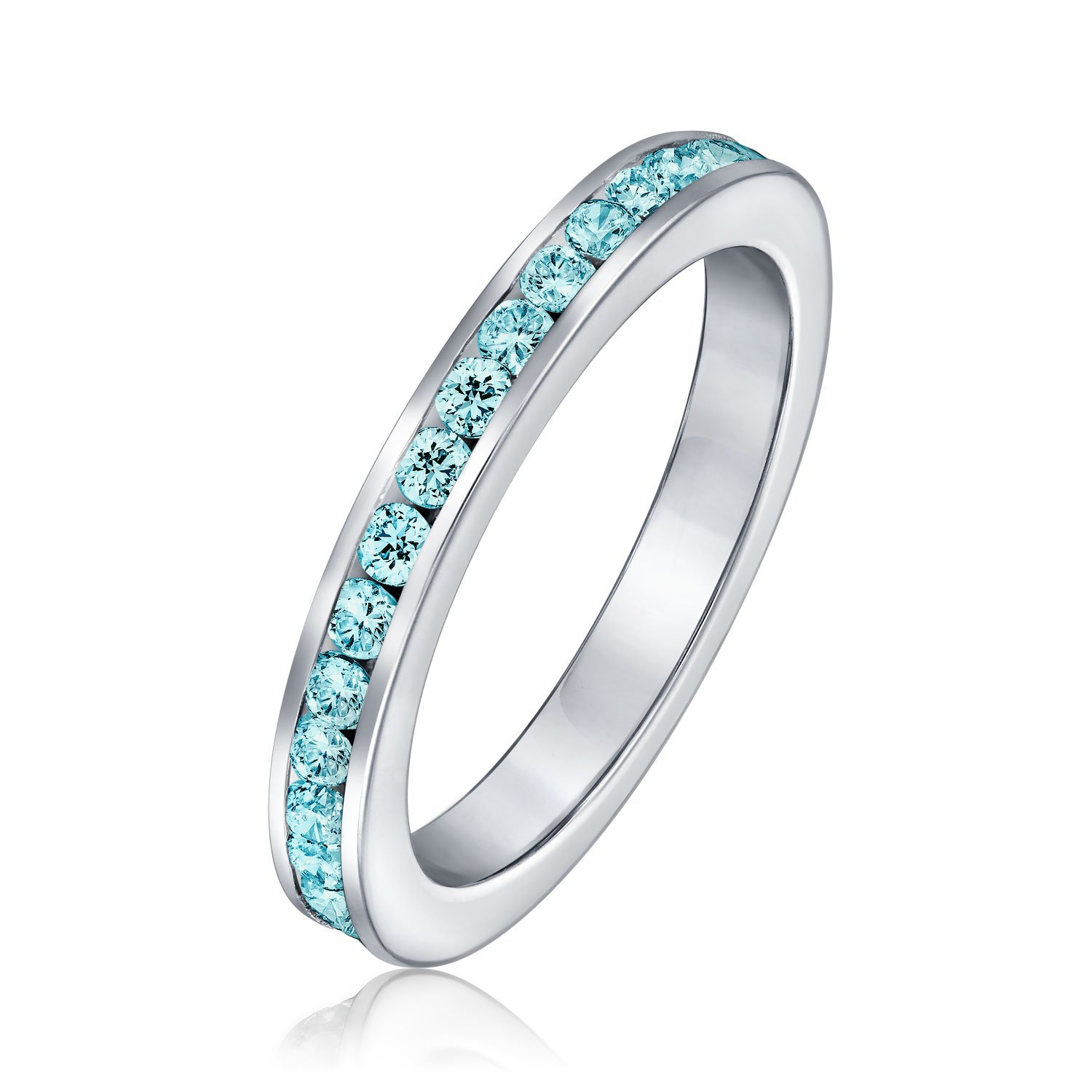 Sterling Silver Simulated Aquamarine CZ Eternity Ring