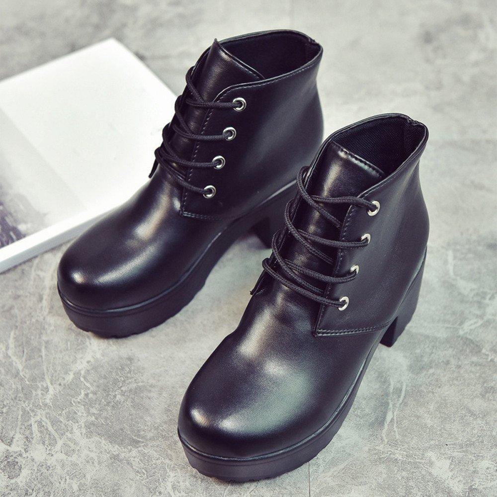 Ansenesna Stiefeletten Damen Leder Mit Absatz Zum Schn/üren Elegant Schuhe Frauen Blockabsatz Boots Mode Vintage