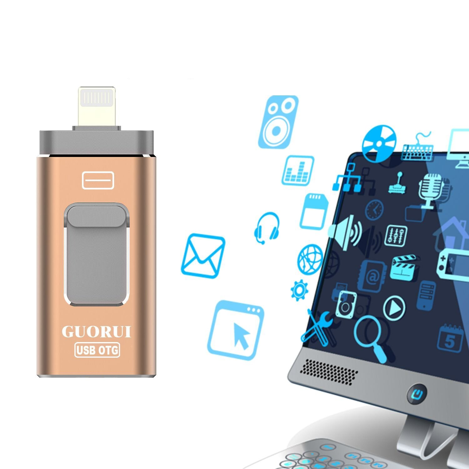 GUORUI USB iflash Drive for iOS, 128 GB Flash Drive for iPhone, Android and Computers, Thumb Drive Memory Storage for Apple, Lighting Memory Stick