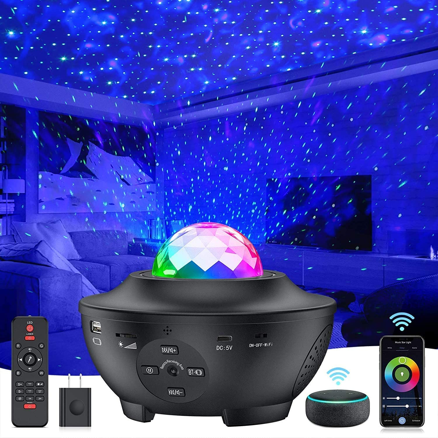 Star Projector 4 in 1 Smart WiFi Galaxy Projector Night Light Work with Alexa & Google Assistant, Ocean Sky Star Light Projector with Smart Music Voice Remote Control for Baby Kids Bedroom Game Room