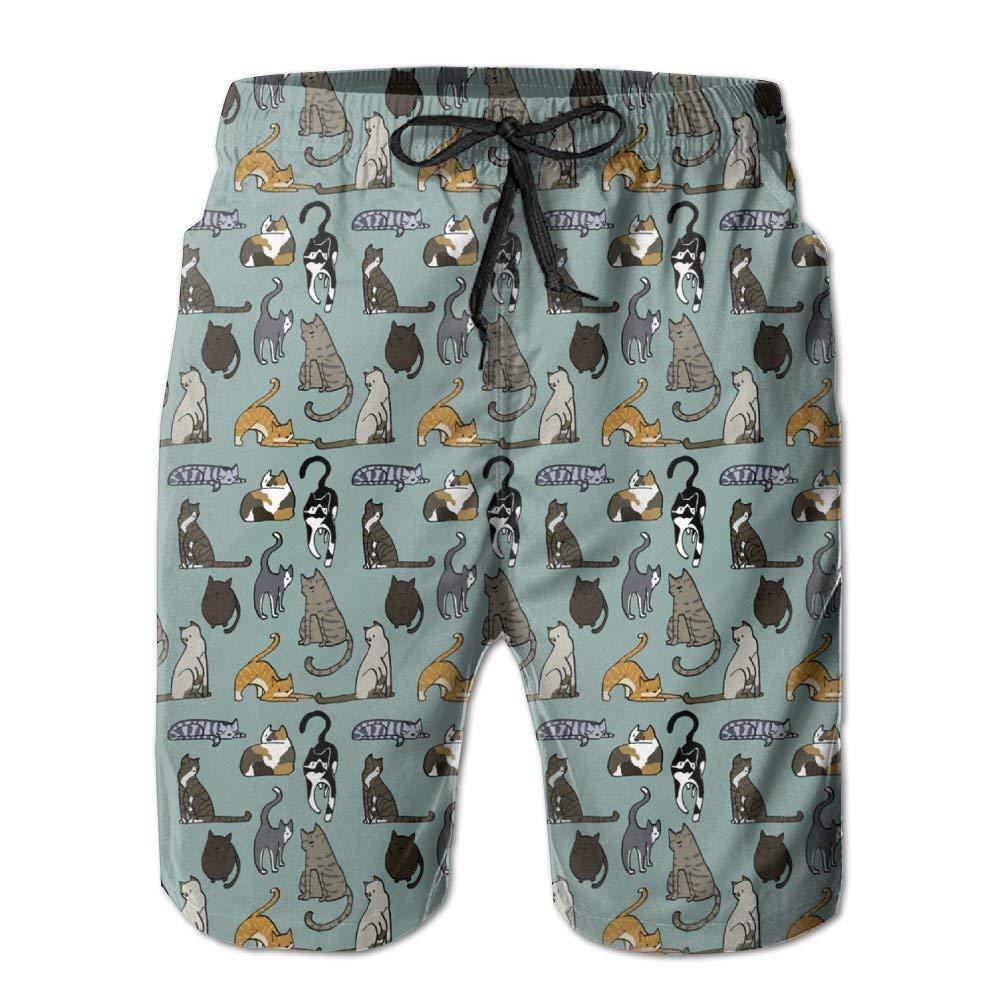 BBggyh Men's Lovely Cat Pattern Swim Trunk Board Short Beach Shorts