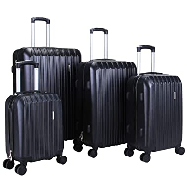 Murtisol 4 Pieces ABS Luggage Sets Hardside Spinner Lightweight Durable Spinner Suitcase 16  20  24  28 ,4PCS Black