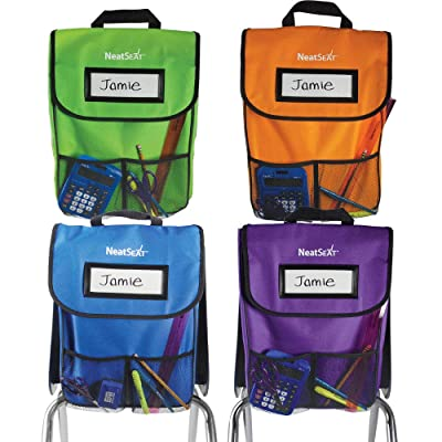"EAI Education NeatSeat Classroom Chair Organizer | Oversized Name-Tag Card, Dual Inner Pockets, One of Each Color: Blue, Lime, Orange, Purple, 16"" x 12"" with 1 1/2"" Gusset, Set of 4: Toys & Games"