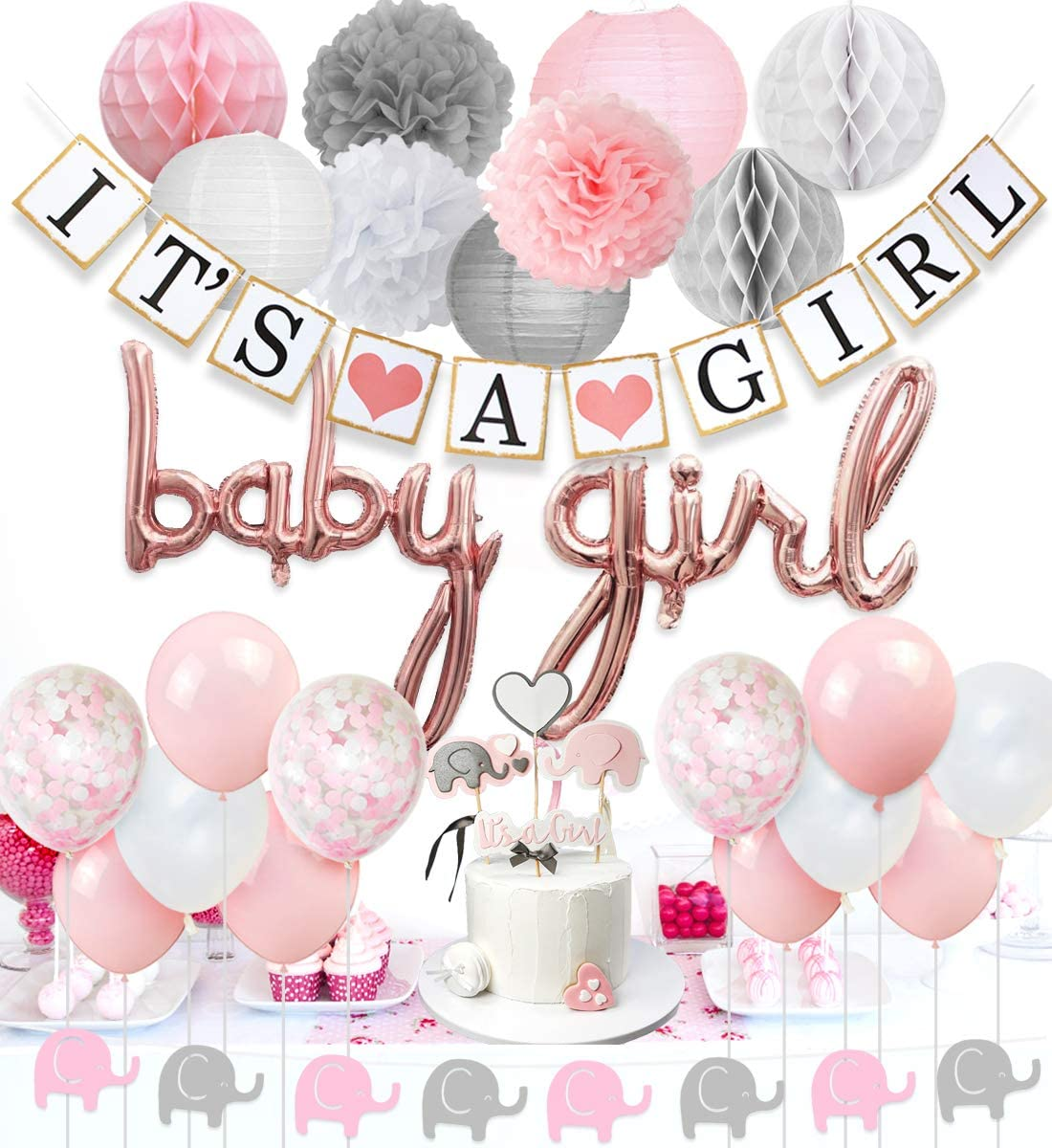 JOYMEMO Baby Shower Decorations for Girls Pink and White, Baby Girl Balloons, Elephant Garland, Confetti Balloons, Elephant Cake Topper for Baby Shower Supplies