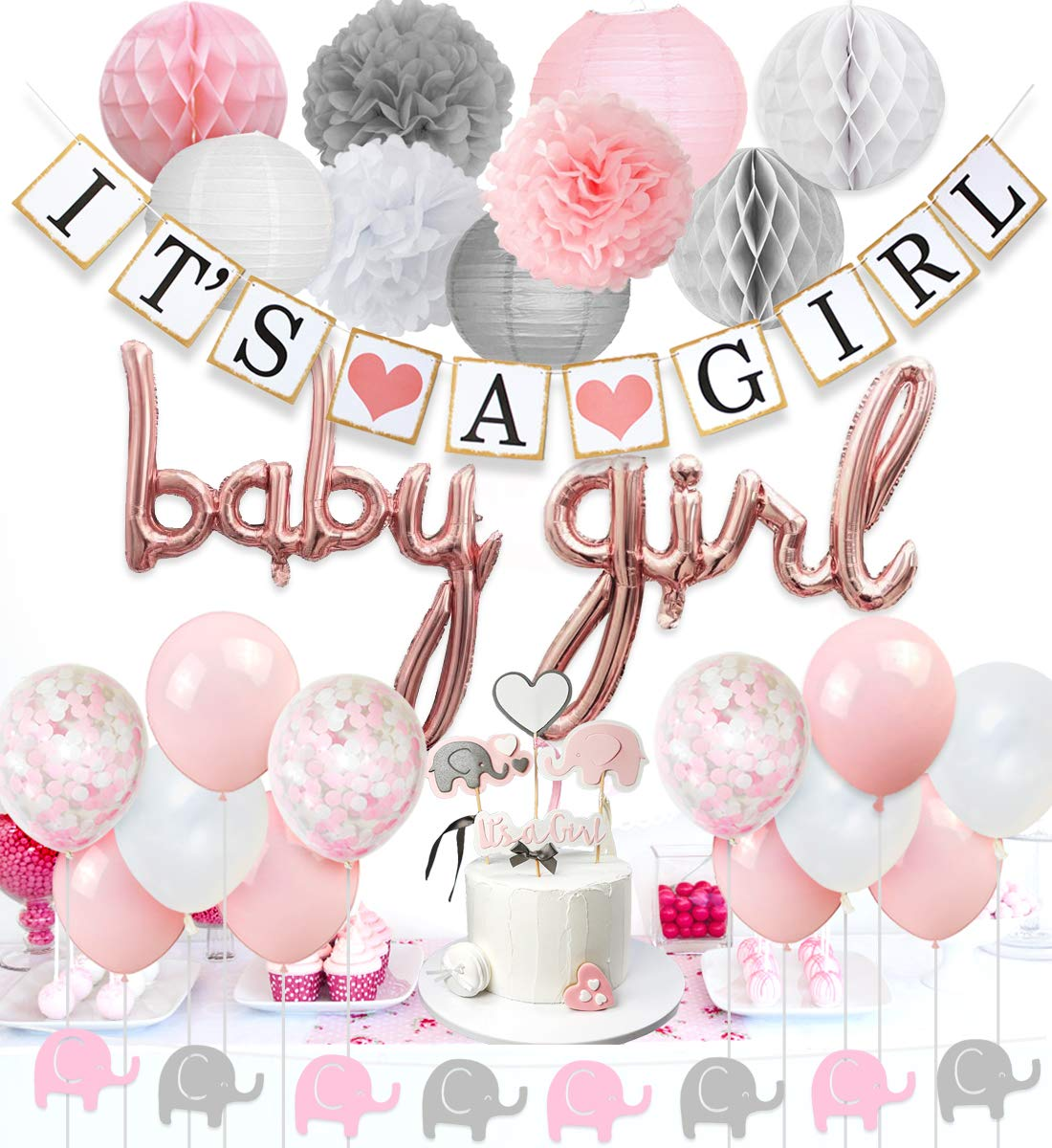 Baby Shower Decorations for Girls Pink and White, Baby Girl Balloons, Elephant Garland, Confetti Balloons, Elephant Cake Topper for Baby Shower Supplies