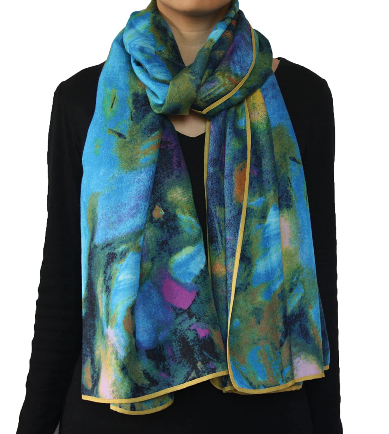 Abstract Artistic Color Block Printed Large Scarf Shawl blue