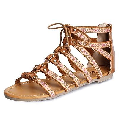 SANDALUP Folk-Custom Gladiator Summer Roman Flat Sandals for Women | Flats