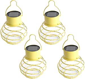 Hanging Solar Lights Outdoor Solar Powered Lantern LED Lanterns Decorative lamp for Garden Patio Hallway, Waterproof,4 Pack