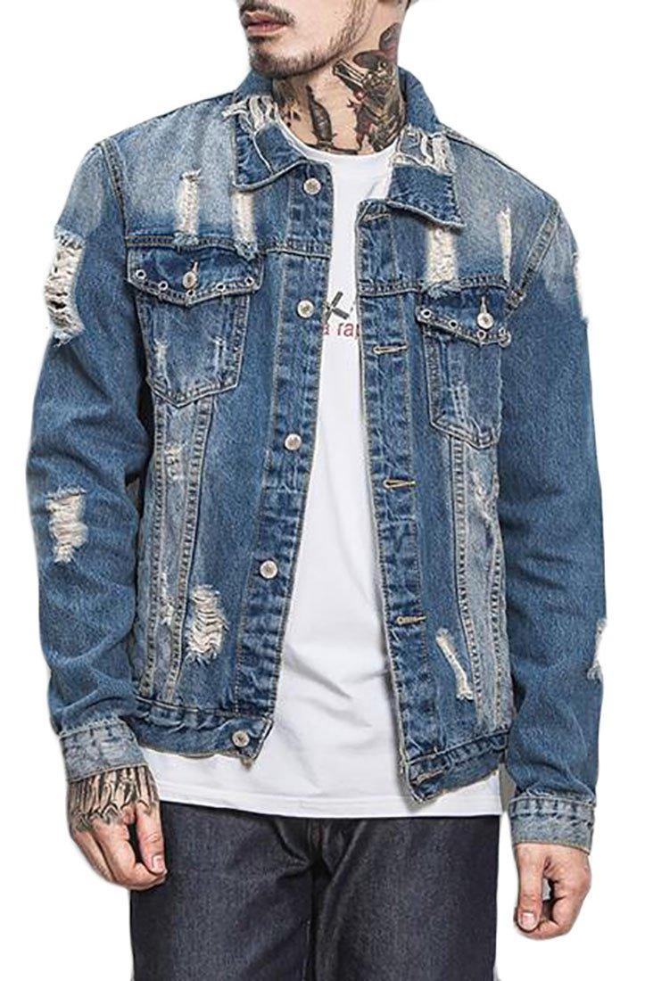Jaycargogo Mens Classic Long Sleeve Solid Casual Loose Hole Washed Denim Jacket Blue M by Jaycargogo