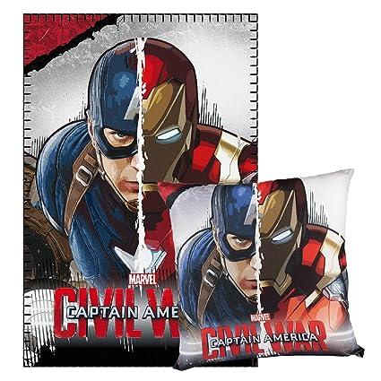 Cerdá Capitán América Manta Polar y cojín Poliéster, Gris ...