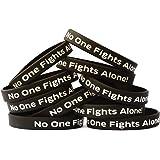 SayitBands 10 Black No One Fights Alone Support Wristband Bracelet