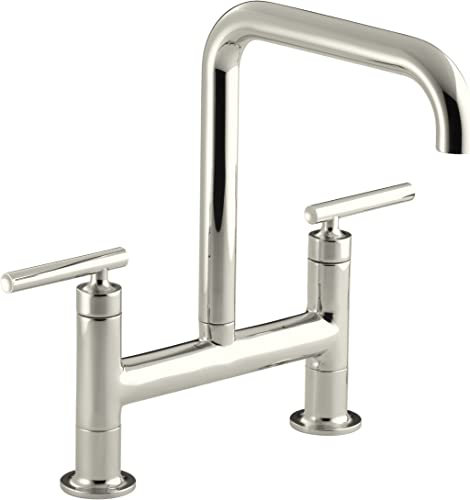KOHLER K-7547-4-SN Purist Deck-Mount Bridge Faucet, Vibrant Polished Nickel