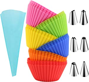 24pcs Muffins Cup Molds Reusable Silicone Cupcake Molds Baking Cups Truffle Cake Pan Set Cake Decorating Supplies Kit