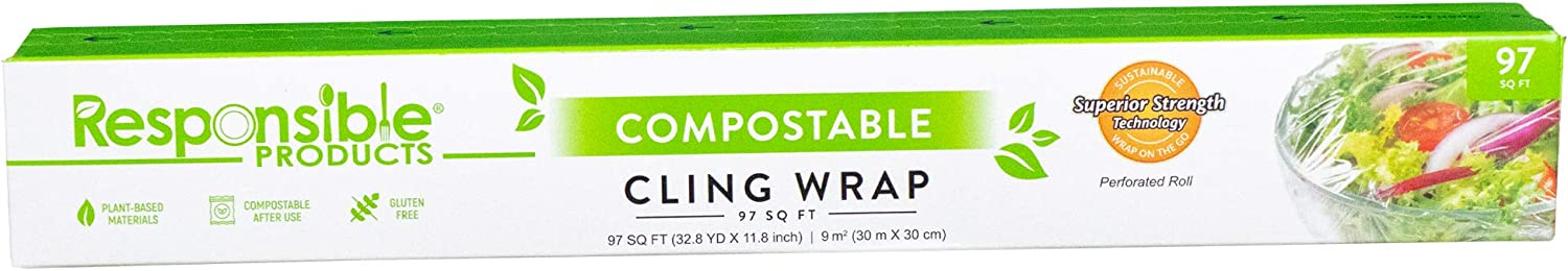 Responsible Products 100% Home Compostable Cling Wrap for Food, Non-Plastic Biodegradable Film, Reusable, Zero Waste, Non-Toxic