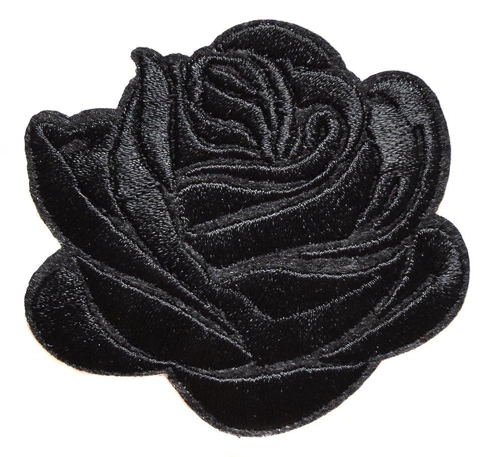 Lot 4 Rose Noir Ecusson Fleur Porte Bonheur Patche  7,5x6,5cm Thermocollant Brod/é