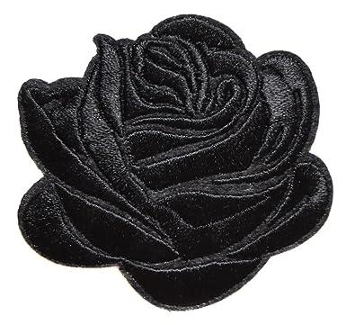 Rose Noir Ecusson Fleur Porte Bonheur Patche 7 5x6 5cm Thermocollant