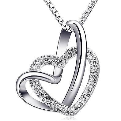 B.Catcher Damen Herz Kette 925 Silber Anhänger Halskette   Doppel Liebe  Herzen  cc3115503d