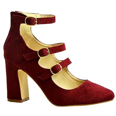 7c5c7df0775ff CucuFashion Womens Ladies Court Pumps Triple Strap Buckle Back Zip Sandals  Mid High Block Heel Shoes Size UK 3 4 5 6 7 8  Amazon.co.uk  Shoes   Bags