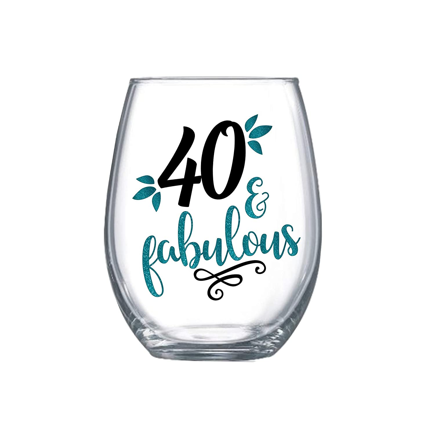 Hello 40 40 And Fabulous Forty Birthday 40Th Birthday Gifts For Women Clear Crystal Red or White Wine Glasses 11 Ounce Hello Forty Forty /& Fabulous 40Th Wine Glass 40Th Birthday Gift