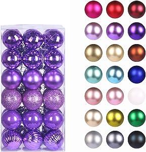 GameXcel Christmas Balls Ornaments for Xmas Tree - Shatterproof Christmas Tree Decorations Large Hanging Ball Iris Purple 1.6