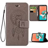 Asus ZenFone 4 ZE554KL Case,PU Leather Wallet Folio Flip Magnetic Protective Case Cover with Card Slots and Kickstand Owl Dreamcatcher for Asus Zenfone 4 ZE554KL 5.5 Inch (Not for ZenFone 4 Max),Grey