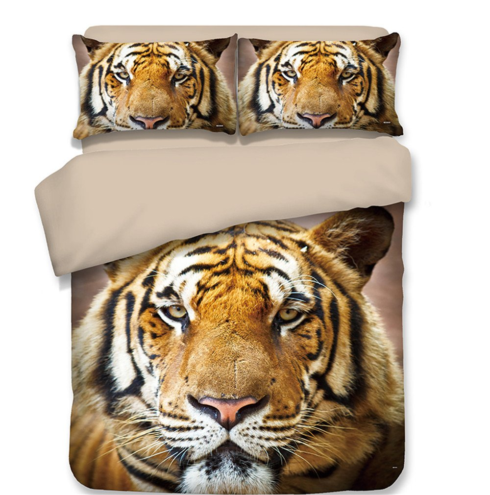 Dodou 3D Tiger Head Printing Bedding Sets Soft and Comfortable Bed Linens Bedding 100% Polyester Duvet Cover Sets 3pcs (Twin)
