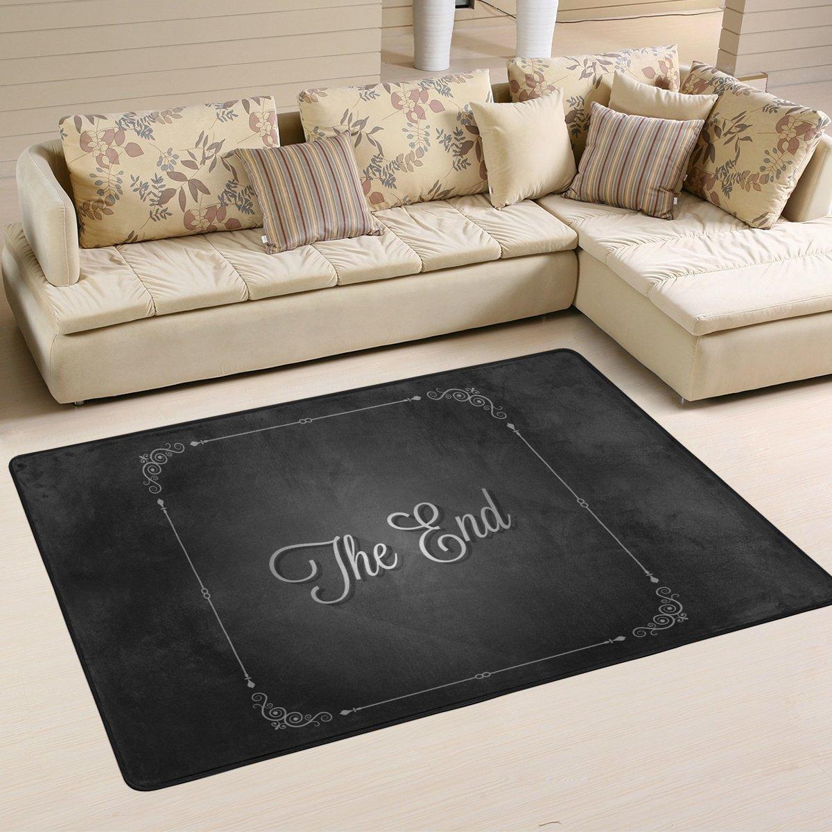 DEYYA Movie Ending Screen Griphic Print Sofa Area Rug Carpet Non-Slip Floor Mat Doormats for Living Room Bedroom 36 x 24 inches