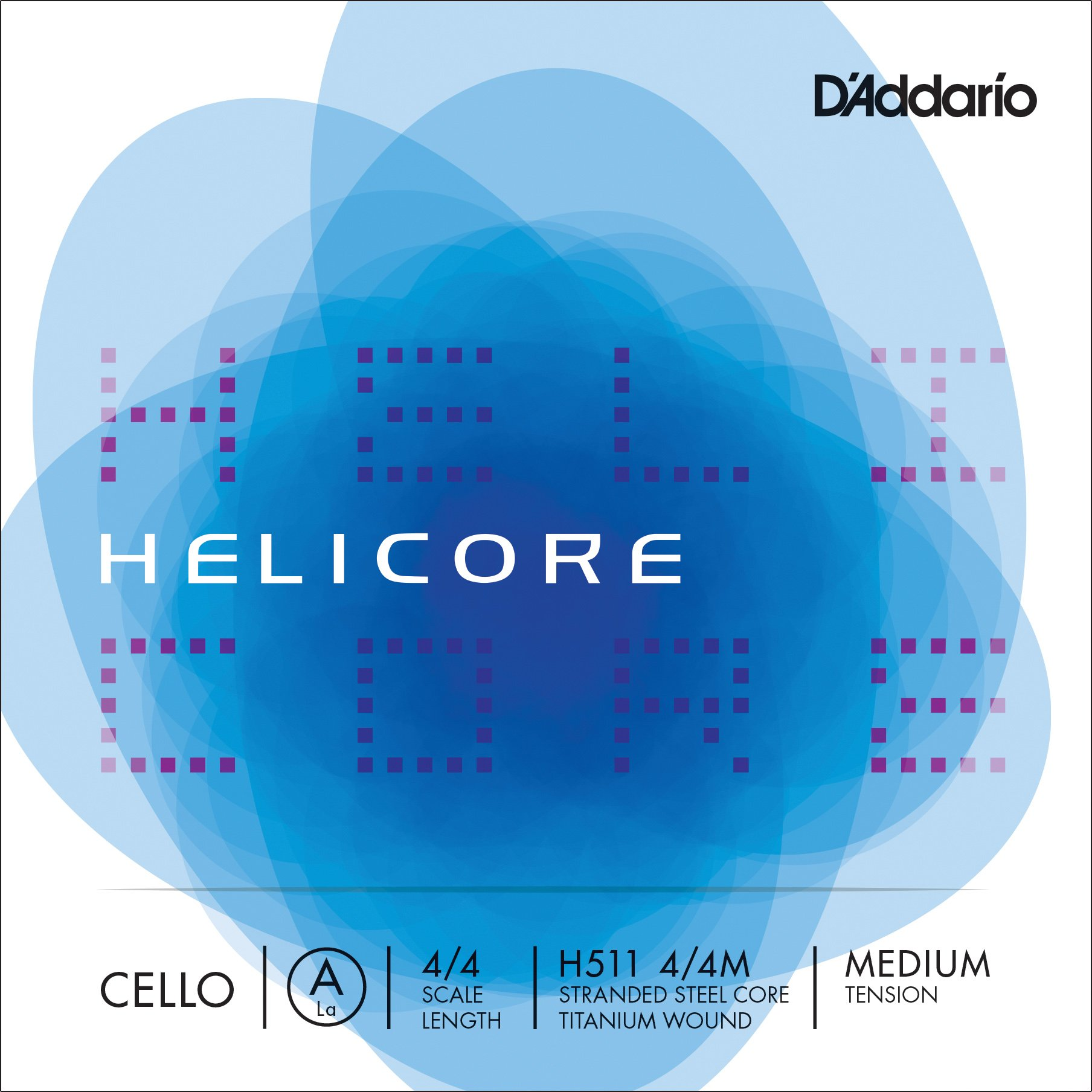 D'Addario Helicore Cello Single A String, 4/4 Scale, Medium Tension