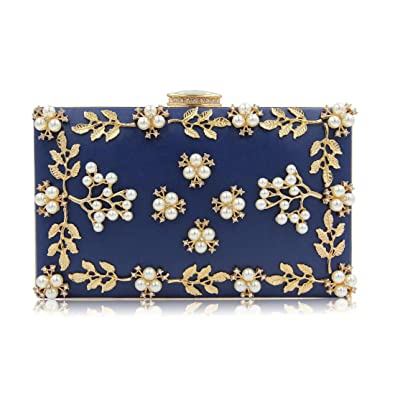 EPLAZA Women Floral Rhinestone Evening Clutch Bags Vintage Beaded Purse  Party Wedding Handbag (deep blue a9eefa388cba