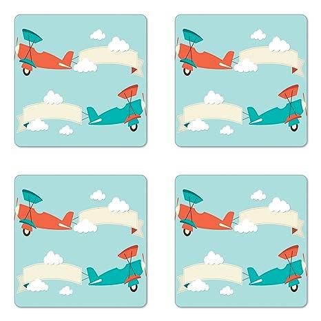 Amazon.com: lunarable Vintage avión posavasos, diseño de ...