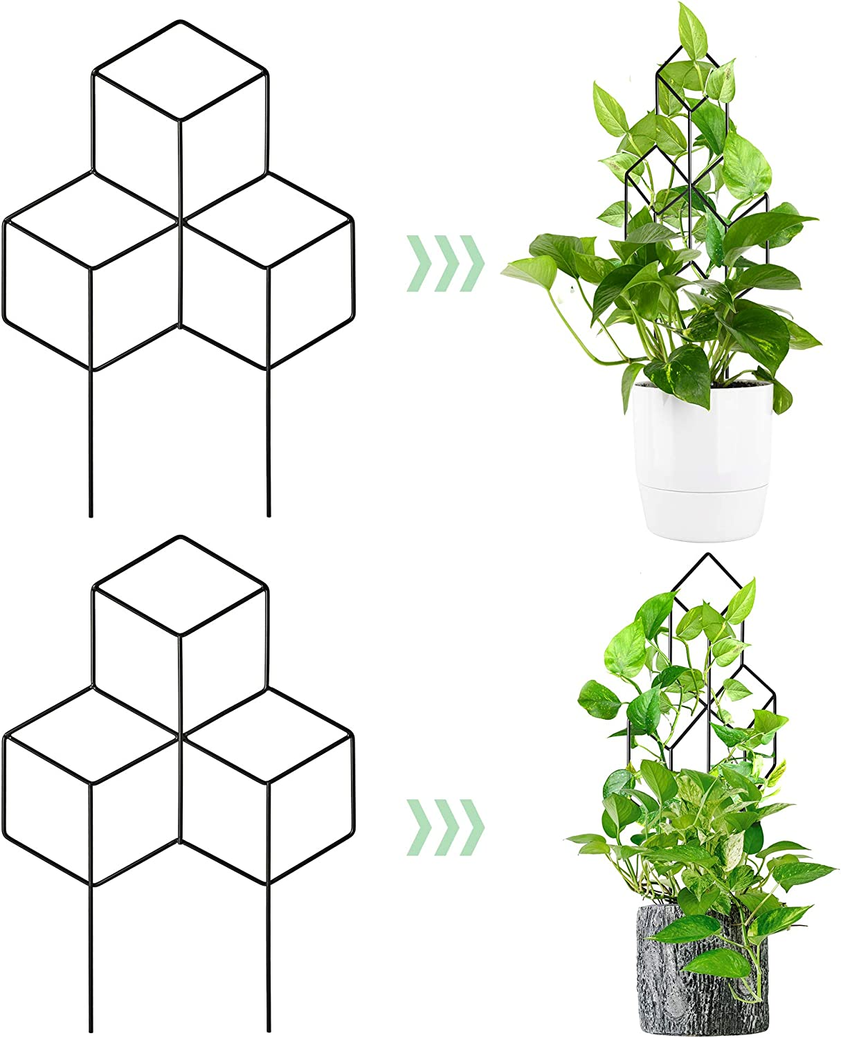 Newtion 2 Pack Garden Metal Trellis, Lattice-Shaped Plant Support Trellis for Indoor Outdoor DIY Mini Climbing Plants, Potted Plants, Flowers Vegetables Rose Vine Pea Ivy Cucumbers, Black Coated
