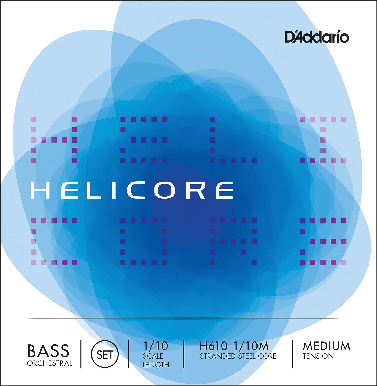 D'Addario Helicore Orchestral Bass String Set, 1/10 Scale, Medium Tension D'Addario &Co. Inc H610 1/10M