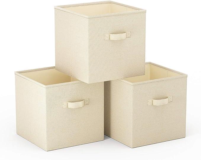 SimpleHome 3 Beige Caja almacenaje Plegables de arpillera para kallax, 33x37x33cm.: Amazon.es: Hogar
