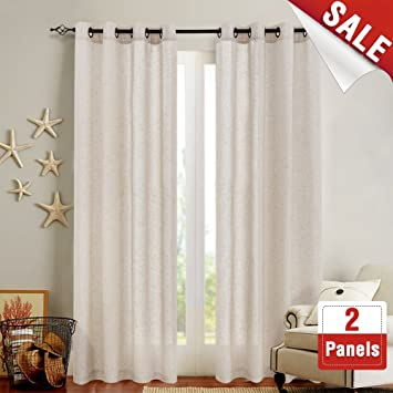 Exceptionnel Linen Textured Curtains For Bedroom 84 Inch Length Flax Linen Blend  Textured Curtain Panels Window Curtain