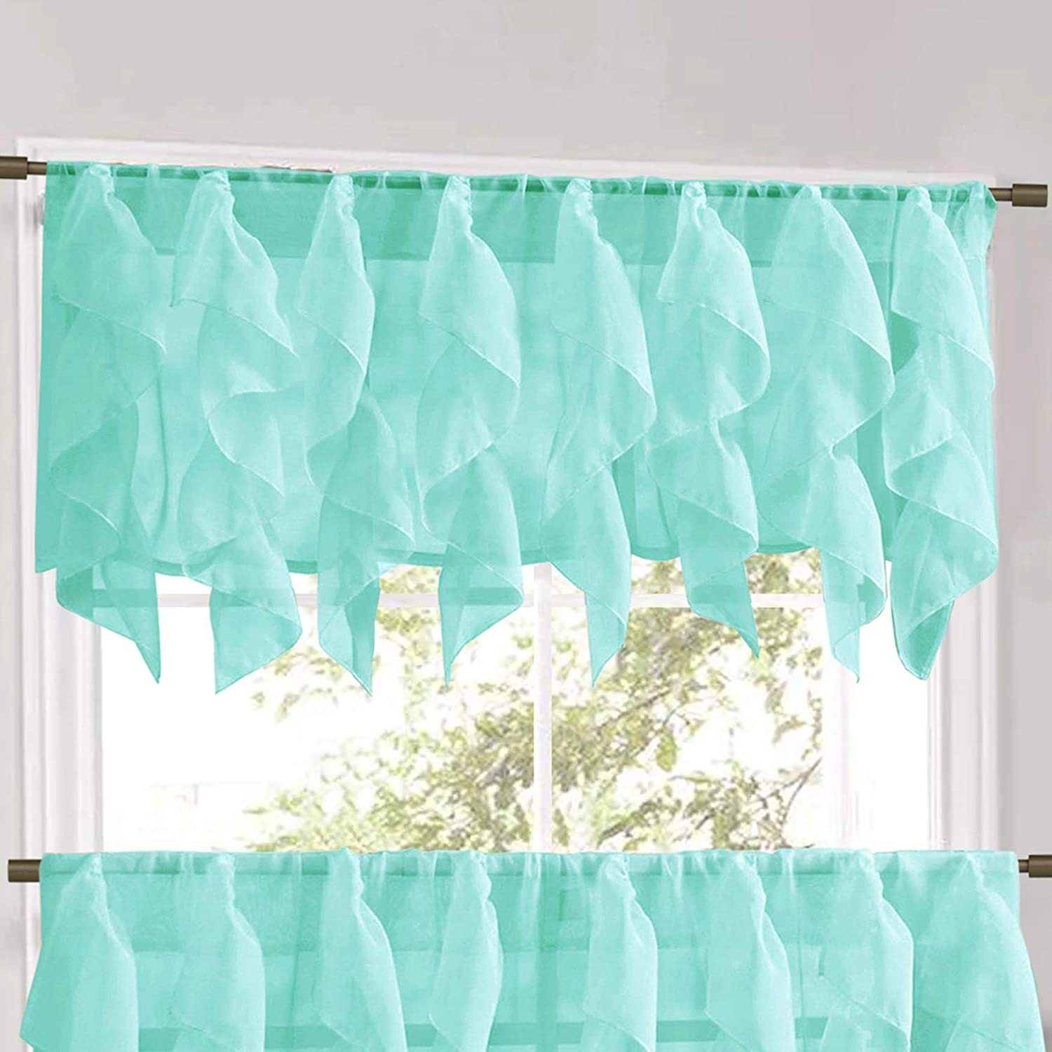 """Sweet Home Collection Veritcal Kitchen Curtain Sheer Cascading Ruffle Waterfall Window Treatment-Choice of Valance, 24"""" or 36"""" Teir, and Kit, Sea"""