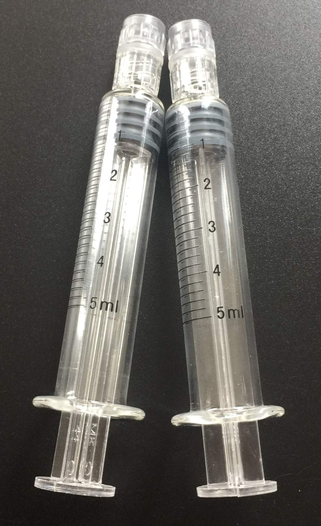 Precision Borosilicate Glass 5ml Luer Lock Syringes (0.2ml Graduations) (5 Pack) (Industrial Measurement only, not for Medical use) by Precision Glassware