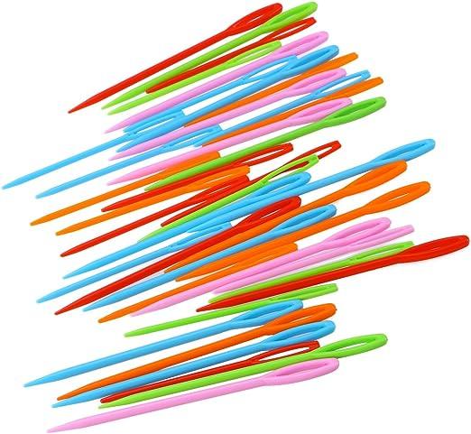 SUPVOX 40 UNIDS agujas de coser de plástico ojo grande agujas de ...