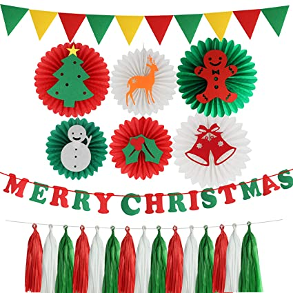 christmas party decorations kit green and red paper fans merry christmas banner diy hanging tassel paper