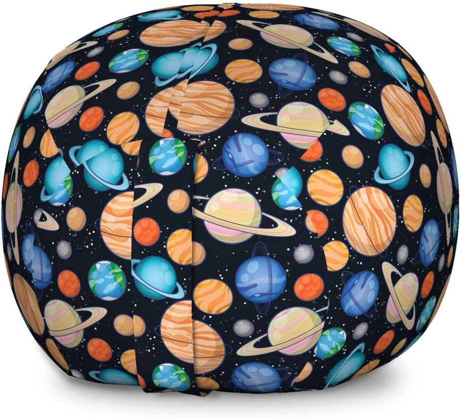 Ambesonne Galaxy Storage Toy Bag Chair, Galaxy Space Art Solar System Planets Mars Mercury Uranus Jupiter Venus Print, Stuffed Animal Organizer Washable Bag, Large Size, Salmon Blue