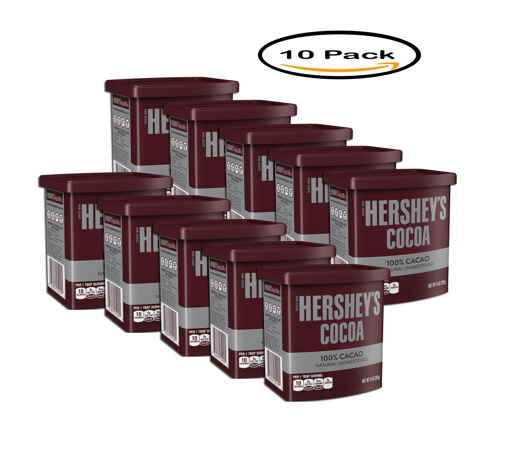 PACK OF 10 - Hershey's® Naturally Unsweetened Cocoa 8 oz. Canister