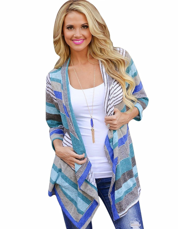 ZEARO Damen Strickjacke Cardigan Wasserfall Pullover Gestreift Strickmantel Knitted Mantel Outwear