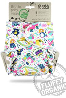 Reusable /& Washable Snaps Outer Material 100/% Cotton Cars on Grey Made in Europe Petit Lulu Bamboo Fitted Newborn Diaper