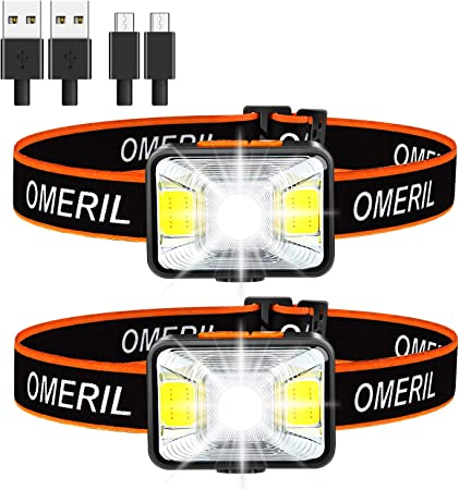 OMERIL LED Head Torch USB Rechargeable Headlamp with Super Bright 200 Set of 2